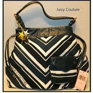 NWT JUICY COUTURE XL Chevron stripe Terry Hobo Bag